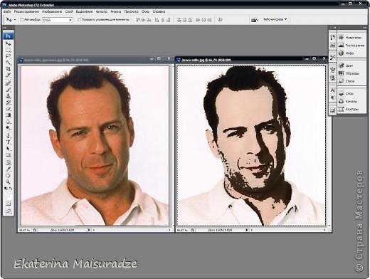 ДОБРОГО ВРЕМЕНИ СУТОК!!! Попробую показать и объяснить как делаю шаблон в графическом редакторе Photoshop. У меня стоит версия Photoshop CS3. --------------------------------------------------- Должна сказать, что используя Photoshop хорошо  получаются фотографии в качестве портрета, где светлый фон и нет множества лишних деталей.  Есть два варианта создания шаблона: ПЕРВЫЙ - используя коррекцию изображения ИЗОГЕЛИЯ и ДИФФУЗИЮ. ВТОРОЙ - используя фильтр ПОЧТОВАЯ БУМАГА   фото 1