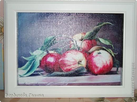 Натюрморт с яблоками сделан по МК Natali2011 http://stranamasterov.ru/node/385328  . Декупаж. Распечатка на лазерном принтере. Картинка из интернета. фото 2