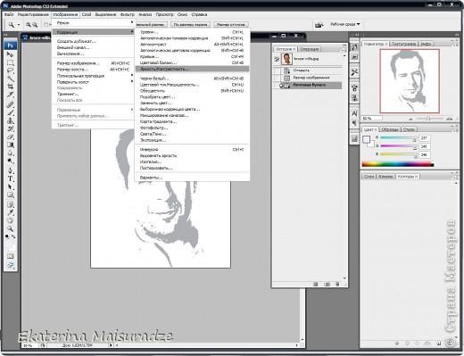 ДОБРОГО ВРЕМЕНИ СУТОК!!! Попробую показать и объяснить как делаю шаблон в графическом редакторе Photoshop. У меня стоит версия Photoshop CS3. --------------------------------------------------- Должна сказать, что используя Photoshop хорошо  получаются фотографии в качестве портрета, где светлый фон и нет множества лишних деталей.  Есть два варианта создания шаблона: ПЕРВЫЙ - используя коррекцию изображения ИЗОГЕЛИЯ и ДИФФУЗИЮ. ВТОРОЙ - используя фильтр ПОЧТОВАЯ БУМАГА   фото 21