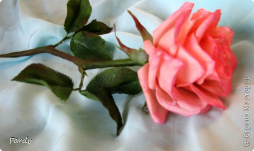Завтра у моей хорошей знакомой День Рождения. Вот пришлось в авральном режиме лепить розу. На самом деле роз три... но получилась на мой вкус только первая.  Прошу прощение за качество фотографий, быстро лепила, быстро фотографировала... фото 5