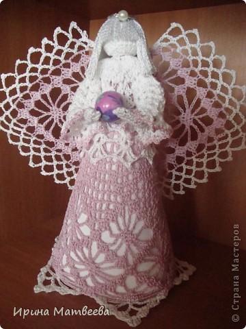 """Вдохновение для создания этого ангела я обрела  здесь http://www.liveinternet.ru/users/3095509/post96620630/   Связала его из """"ириса"""". фото 7"""