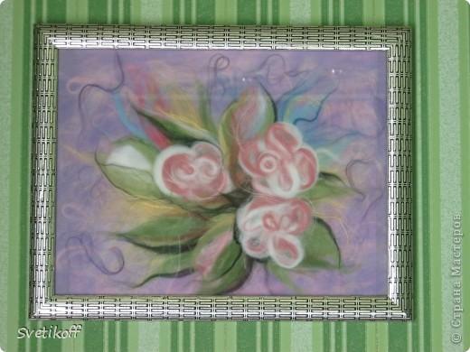 Вот такая получилась моя первая шерстяная картина. Цвета немного искажены. На самом деле она ярче. фото 1