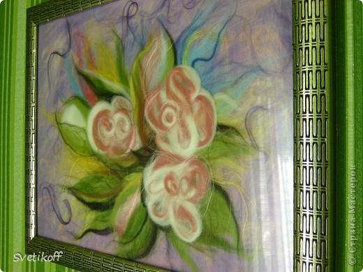 Вот такая получилась моя первая шерстяная картина. Цвета немного искажены. На самом деле она ярче. фото 2