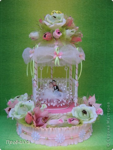 Здравствуйте! Несмотря на жару хочется творить, да ещё с конфетками! Мой вклад в свадебную пору-Беседка или Как красиво подарить денежку на свадьбу. фото 1