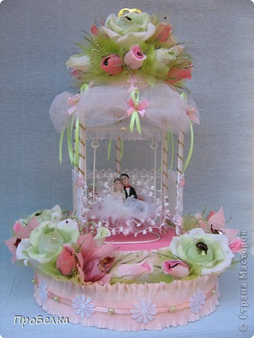 Здравствуйте! Несмотря на жару хочется творить, да ещё с конфетками! Мой вклад в свадебную пору-Беседка или Как красиво подарить денежку на свадьбу. фото 8