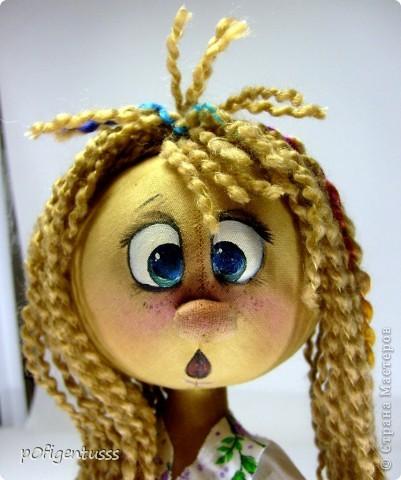 вот такая девочка Светочка у меня родилась Тыквоголовик волосики из пряжи, фланелевое платице Личико росписано акриловыми красками фото 2