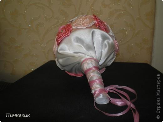 Букет из лент и цветы из полимерной глины фото 4