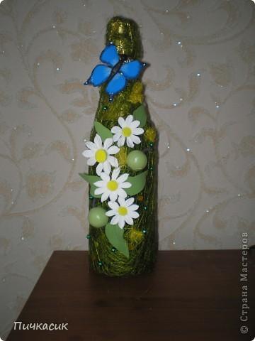 Букет из лент и цветы из полимерной глины фото 6
