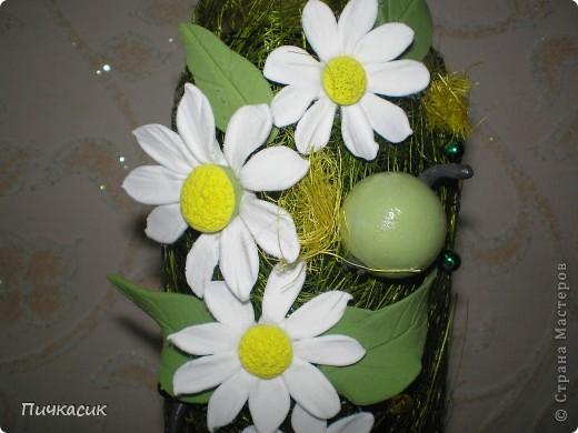 Букет из лент и цветы из полимерной глины фото 7