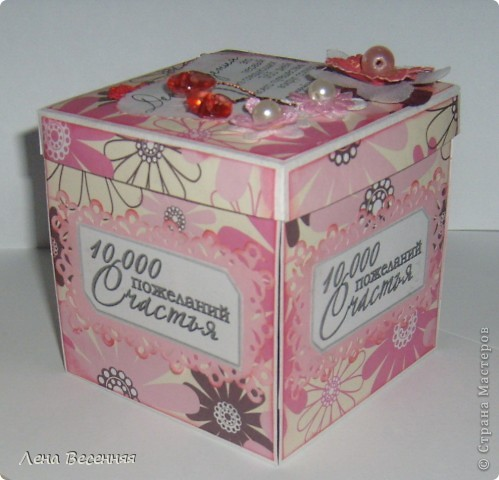 Доброго времени суток дорогие жители СМ!!! Вдохновилась прекрасными коробочки с сюрпризом СМ и решила попробовать сделать.  Вот что получилось! Спасибо мастерицам за вдохновение! Коробочку подарила подруге на день рождения. фото 2