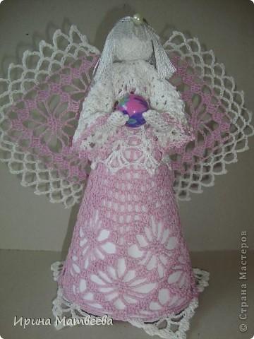 """Вдохновение для создания этого ангела я обрела  здесь http://www.liveinternet.ru/users/3095509/post96620630/   Связала его из """"ириса"""". фото 1"""