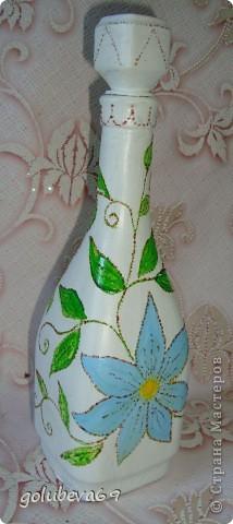 Декупаж бутылочки с росписью. фото 3