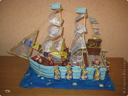 Вот и сбылась моя мечта! Я очень долго любовалась сладкими кораблями и не решалась сделать. Помог юбилей! Нужен был оригинальный подарок и я села мастерить! фото 1