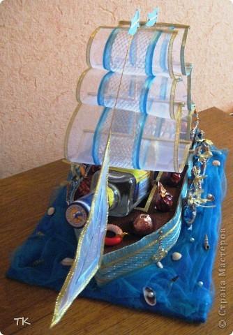 Вот и сбылась моя мечта! Я очень долго любовалась сладкими кораблями и не решалась сделать. Помог юбилей! Нужен был оригинальный подарок и я села мастерить! фото 2