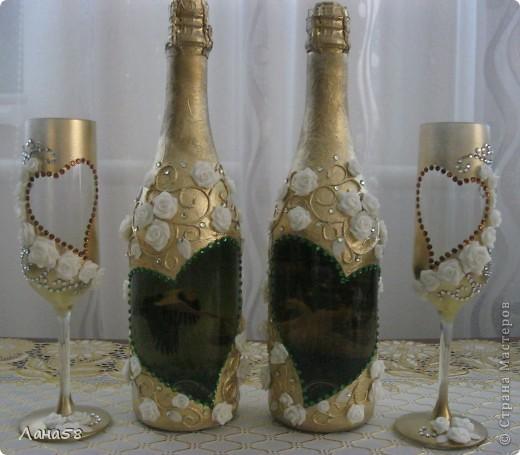 Декупаж свадебных бутылок из лент