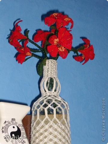 Просто цветы :) подарили букет, там были такие, очень понравились и решила их сплести :) Поставить было некуда, пришлось оплести бутылку для них :) фото 2