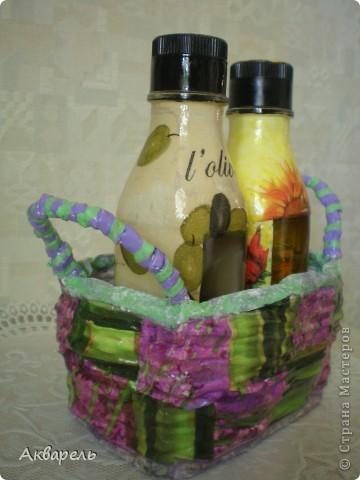 Маленькая корзиночка для маленьких бутылок под масло.  фото 4