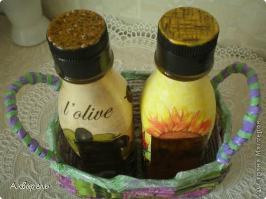 Маленькая корзиночка для маленьких бутылок под масло.  фото 5