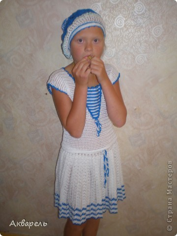 """Матросочка для Оли готова. Красиво на модельке смотрится. Празднично! И немножко - """"ретро""""! фото 14"""