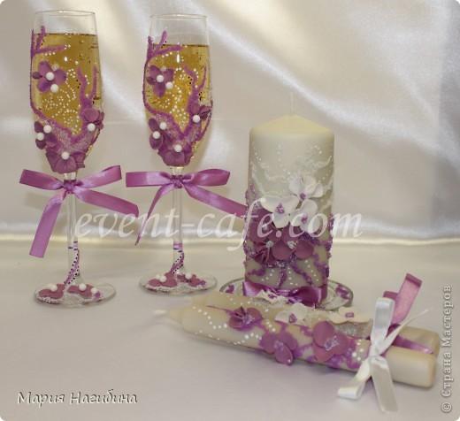 """Свадебные бокалы, семейный очаг и 2 родительские свечи """"Пурпурная мечта"""". фото 1"""