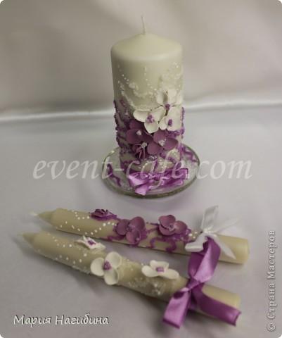 """Свадебные бокалы, семейный очаг и 2 родительские свечи """"Пурпурная мечта"""". фото 3"""
