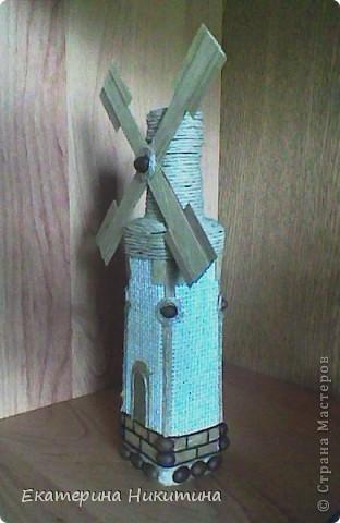 Бутылка-мельница (мешковина, бумажный шпагат, шпон, кофейные зерна) фото 2