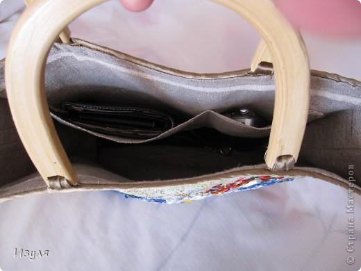 Летняя сумочка с вышивкой. Наконец то я решилась сшить сумочку на лето, правда пока вышивала, да пока мучилась с шитьем, лето почти прошло! Но может ещё успею выйти в люди?! фото 4