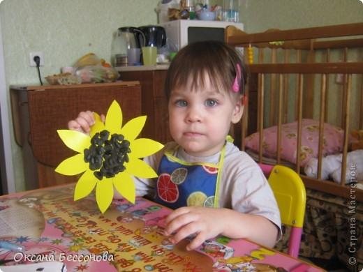 Моей дочери сейчас 2,5 года и время от времени мы что то творим в хорошем смысле этого слова. Вот представляем Вашему вниманию работы за последние полгода (в нескольких частях). Может кому и пригодиться. Подсолнух. Вырезан цветок из картона, в середине прикрепили кусочки пластилина и сверху вдавили семечки. фото 1