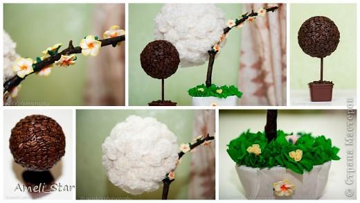 """Белое деревце назвалось """"невестой"""", кофейное так и осталось... просто кофейное. Вообще дорабатывать еще много, но весь день трудилась, что хочется показать)))) цветочки из холодного фарфора, только не моего исполнения)) Вот думаю, шляпку кофейному сделать, или бант какой повязать?!"""