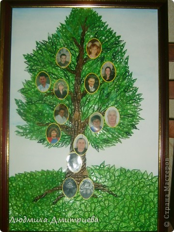 Вот такой подарок был сделан бабушке на 80-летие. Именинница в самом центре ствола. В корнях ее родители, чуть ниже - муж, а на ветвях дети, внуки и правнуки. фото 1