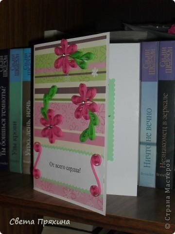 Мне купили красивую бумагу для скрапбукинга и вот я решила её использовать.сделала вот такую открытку маме на день руждения.  фото 3