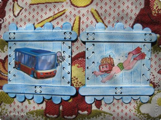 Детскому саду уже 27 лет, шкафчики в раздевальной комнате оставляют желать лучшего и мне захотелось их как-то облагородить и оживить. Увидела в интернете работы с использованием медицинских шпателей http://www.liveinternet.ru/users/4421191/post223415018/ и загорелась. Купила 200 не стирильных шпателей и началась моя работа. Для девочек выбрала салфеточки - таких бирочек 13, а для мальчиков вырезала картинки из книжек - таких бирочек 11 штук. После грунтовки использовала восковые мелки и есть набрызг. фото 7