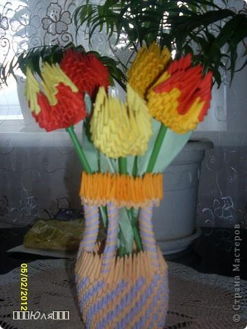 Мои тюльпанчики и ваза из модулей. Вазу делала без схемы. фото 2