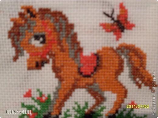 Зайчик с морковкой. Это вышивка из набора. Вышивала долго, т.к. это моя первая вышивка крестом. фото 2