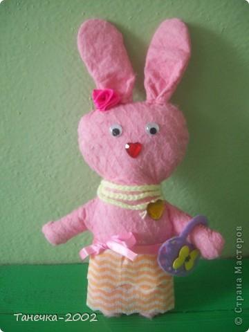 Вчера я напросилась к Алисе и Ульяне на совместный пошив.Мы вместе шили зайчика. Это моя Розочка. фото 1