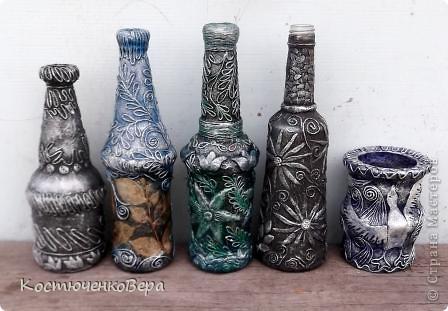 Потихонечку натворила новые бутылочки в технике пейп арт. http://stranamasterov.ru/user/151613 Новые эксперименты. фото 1