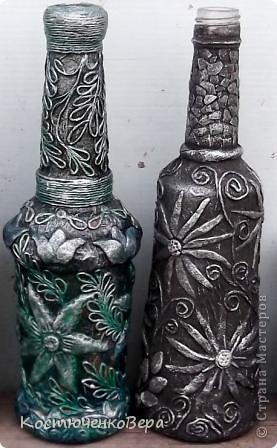 Потихонечку натворила новые бутылочки в технике пейп арт. http://stranamasterov.ru/user/151613 Новые эксперименты. фото 10