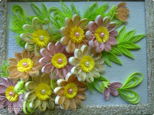 """Картина """"Букет цветов"""" в пастельных тонах. Квиллинг.  фото 1"""