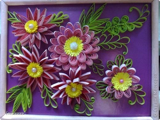 """Картина """"Букет цветов"""" в пастельных тонах. Квиллинг.  фото 7"""