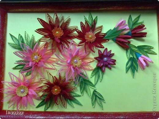 """Картина """"Букет цветов"""" в пастельных тонах. Квиллинг.  фото 5"""