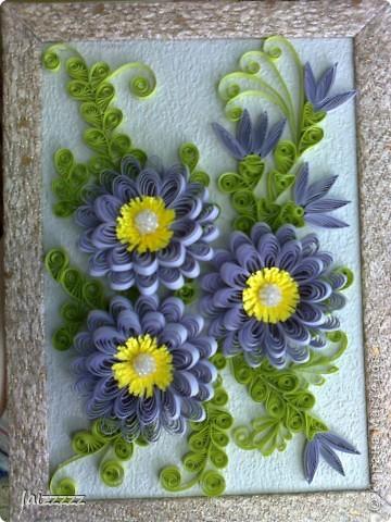 """Картина """"Букет цветов"""" в пастельных тонах. Квиллинг.  фото 2"""