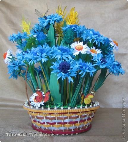 """Здравствуйте, жители СМ! Снова продолжаю свою серию """"Цветы в корзинке""""! Сегодня подготовила букет полевых цветов. Согласитесь, мимо такой красоты пройти невозможно... За МК корзинки - благодарность Светлане  http://stranamasterov.ru/node/377437. фото 1"""
