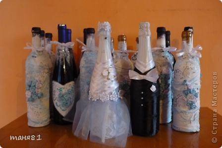 Получила я вот такой свадебный заказик. (правда делала все бесплатно). В наборе 18 бутылочек. Свадебное делала впервые. фото 1