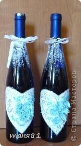Получила я вот такой свадебный заказик. (правда делала все бесплатно). В наборе 18 бутылочек. Свадебное делала впервые. фото 7