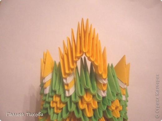 Для изготовления вазы вам понадобится: 200 зелёных, 30 белых, 495 жёлтых модулей.  фото 21