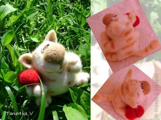 Вот такой славный котик! Моя первая валяшка!!! Спасибо за МК Елене Смирновой! Теперь и я счастливый обладатель ее книги!!! Ура!! Ура!!! фото 4