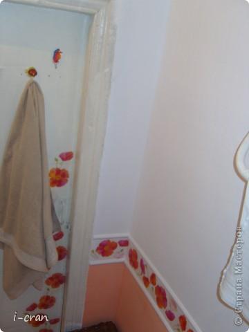 Ну а вот собственно и вид после ремонта, краску покупали специальную для кухонь и ванных, водостойкая, разводили колером персиком, бордюры по примеру участницы сайта ~ alena_86_rd ~ (и ее ремонта http://stranamasterov.ru/node/369527?c=favorite ) состоят из плинтусов ПВХ и декупаж из салфеток. Поставили экран под ванной. фото 8