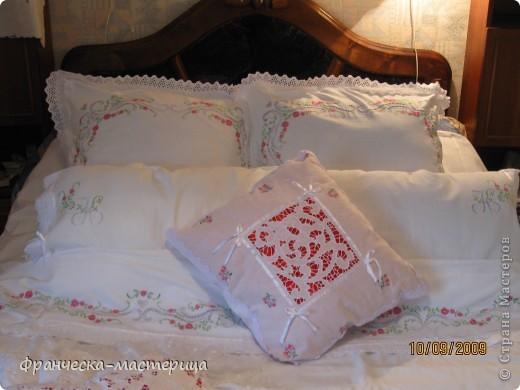 Комплект свадебного постельного белья . Вышивка ришелье и гладь. фото 1