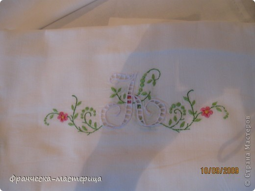 Комплект свадебного постельного белья . Вышивка ришелье и гладь. фото 6