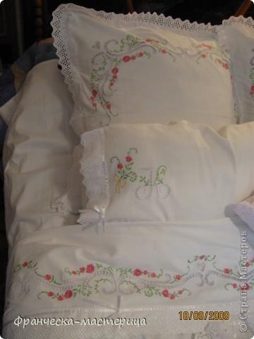 Комплект свадебного постельного белья . Вышивка ришелье и гладь. фото 8